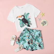 Girls Animal and Tropical Print Top & Knot Front Shorts Set