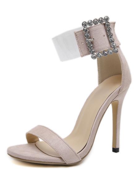 Milanoo High Heel Sandals Womens Open Toe Rhinestones Ankle Strap Stiletto Heel Sandals