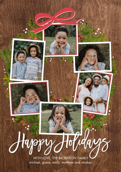 Holiday Photo Cards 5x7 Cards, Standard Cardstock 85lb, Card & Stationery -Holiday Festive Wreath by Tumbalina