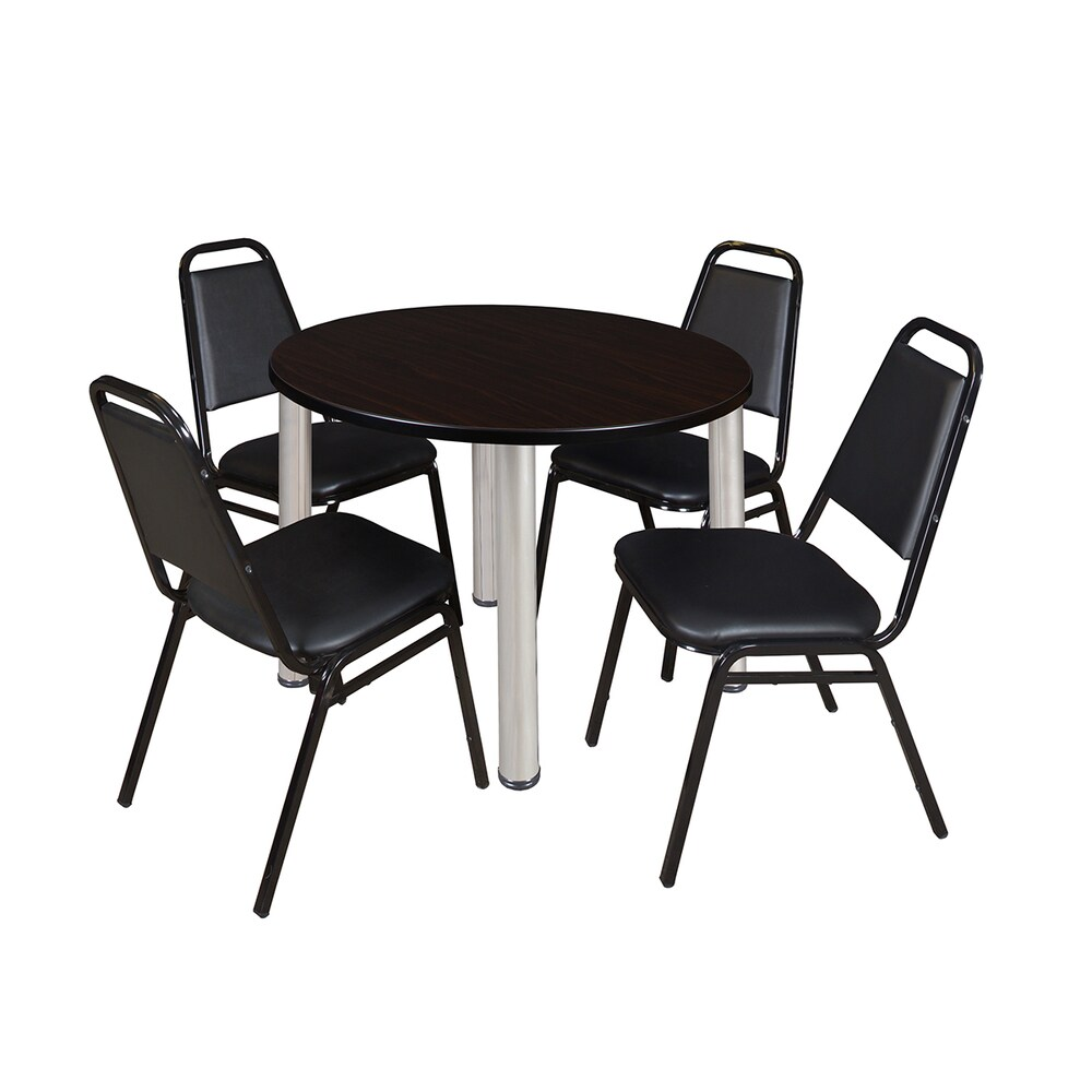Kee 42-inch Round Chrome Breakroom Table with 4 Black Restaurant Stack Chairs (Oak)