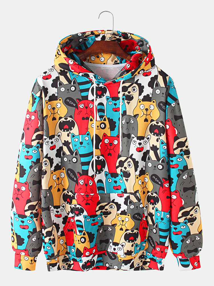 Mens Allover Funny Animal Print Casual Pouch Pocket Drawstring Hoodies