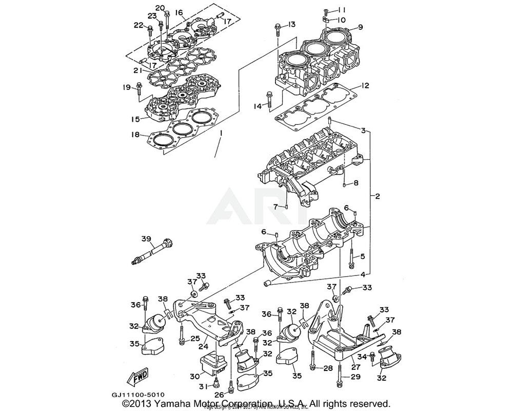 Yamaha OEM 63M-21425-01-00 BRACKET, REAR UPPER 1