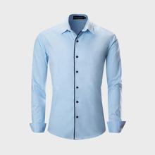 Hemd mit Kontrast Bindung und Knopfen