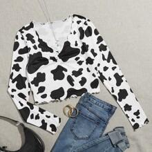 Camiseta con estampado de vaca ribete en forma de lechuga fruncido delantero