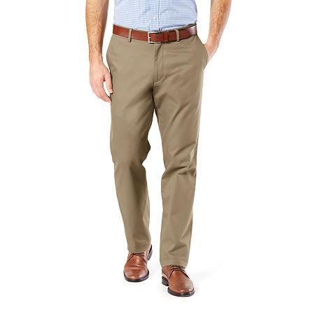 Dockers Men's Straight Fit Signature Khaki Lux Cotton Stretch Pants D2, 34 30, Beige