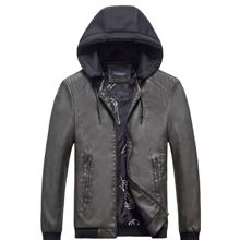Men Color Block Zip Up Drawstring Hooded PU Leather Jacket