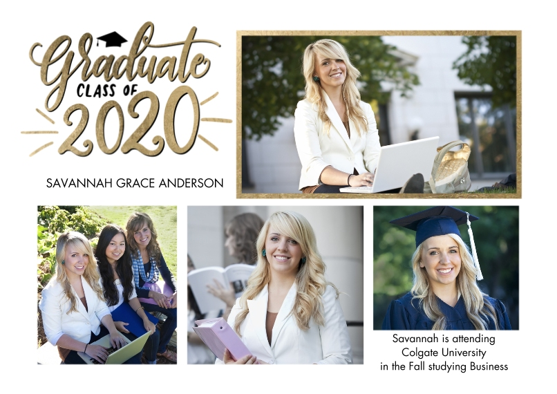 2020 Graduation Announcements 5x7 Cards, Premium Cardstock 120lb, Card & Stationery -Graduate 2020 Gleaming by Tumbalina
