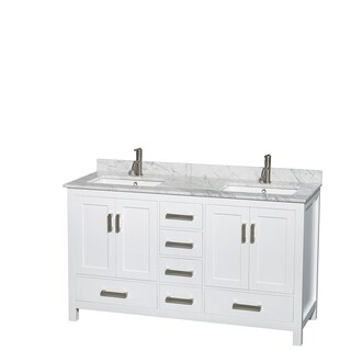 Sheffield White 60-inch Double Bathroom Vanity (No Mirror/Carrara Marble Counter w/ White Porcelain Sinks/White)