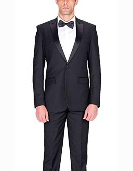 Men's 1Button Single Black Slim Fit Tuxedo Suit With Satin Peak Lapels
