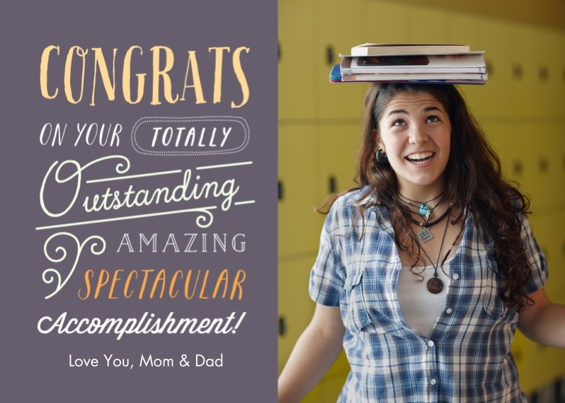 Congratulations 5x7 Folded Cards, Premium Cardstock 120lb, Card & Stationery -Outstanding Accomplishment
