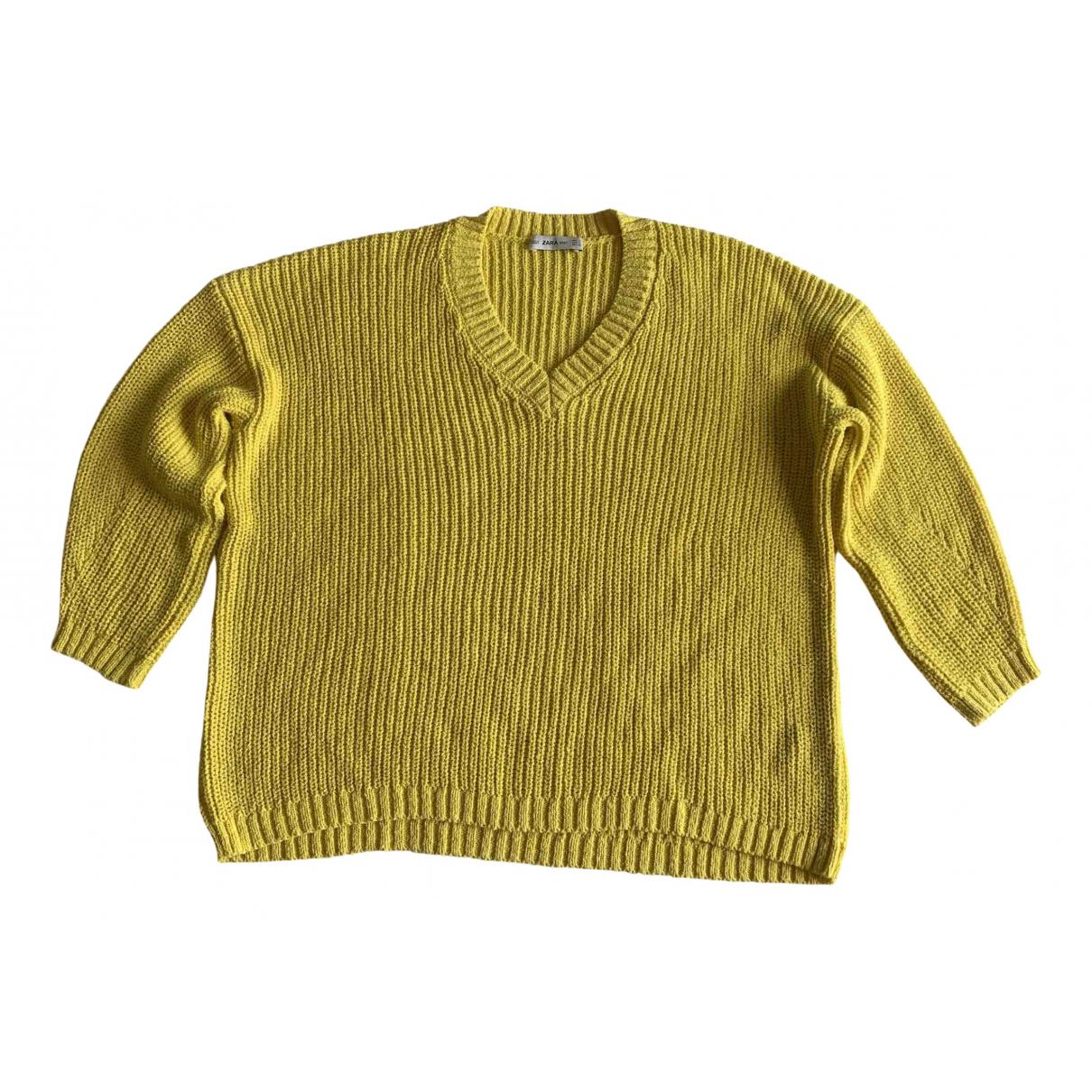 Zara - Pull   pour femme en coton - jaune