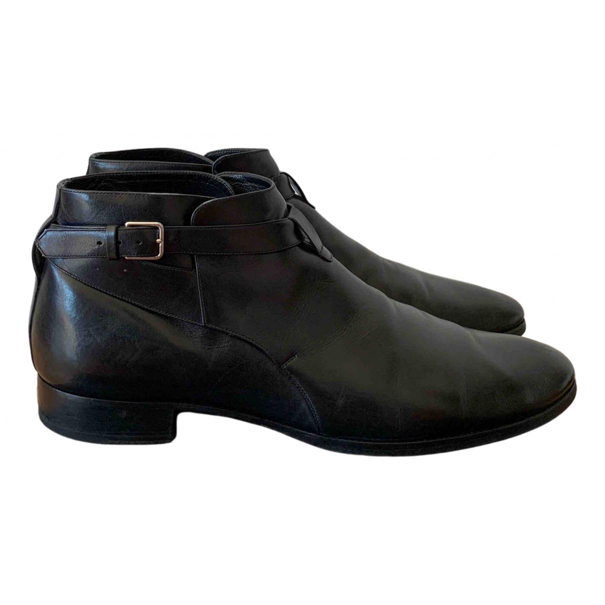 Saint Laurent - Bottes.Boots Connor Jodphur pour homme en cuir - noir