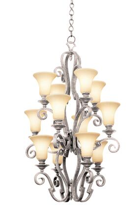 Ibiza 4039PS/1209 12-Light Foyer in Pearl Silver with Ecru Standard Glass