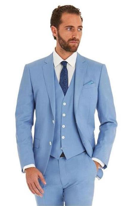 Mens Sky Blue Powder Blue ~ Ocean Single Breated 2 Button Suit