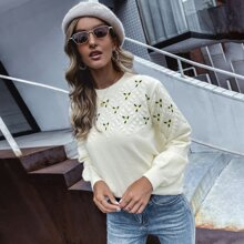 Floral Embroidery Round Neck Sweater