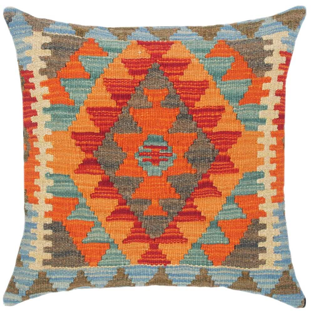 Tribal Isadora Hand-Woven Turkish Kilim Pillow 18 in. x 18 in. (Accent - 18 in. x 18 in. - Polyester - Rust - Single)