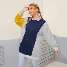 Plus Contrast Panel Polo Neck Sweatshirt