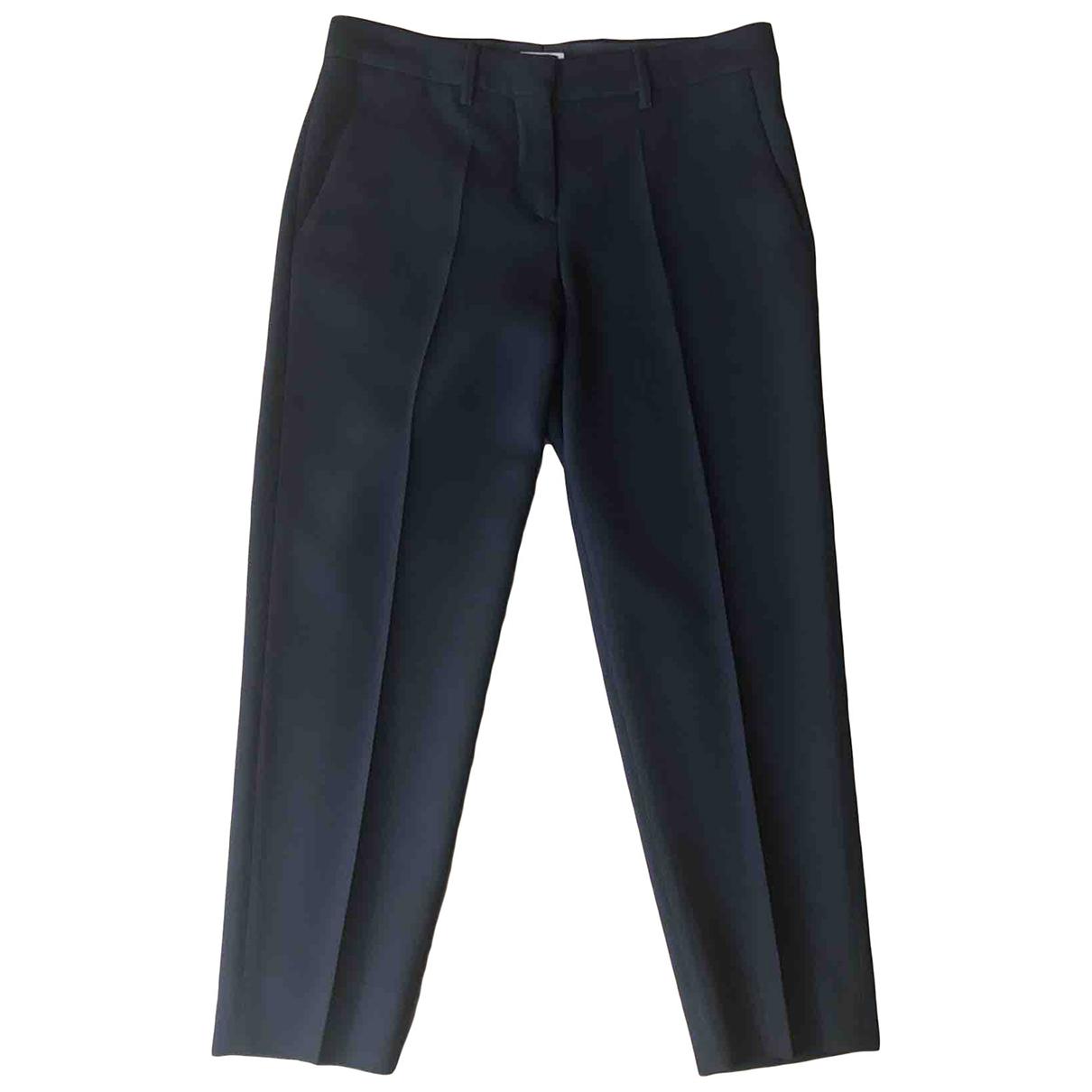 Miu Miu \N Black Wool Trousers for Women 40 IT