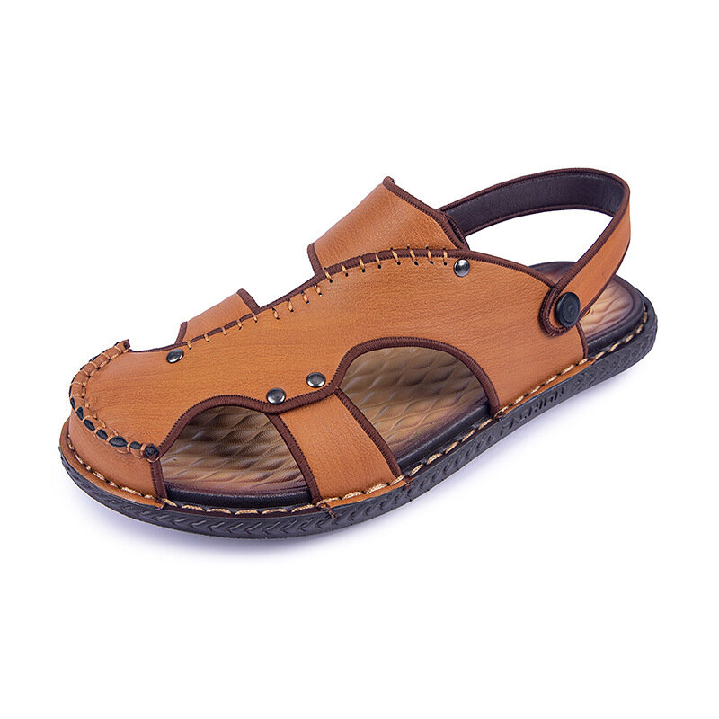 Men Closed Toe Hand Stitching Hole Leather Beach Water Sandals