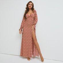 SBetro vestido de puño con nudo de muslo con abertura con estampado floral