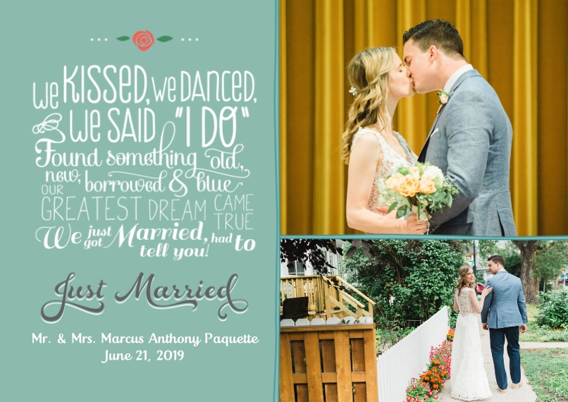 Just Married 5x7 Cards, Premium Cardstock 120lb, Card & Stationery -Fun Fonts Poem Just Married