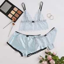 3pack Scallop Floral Lace Lingerie Set & Satin Shorts