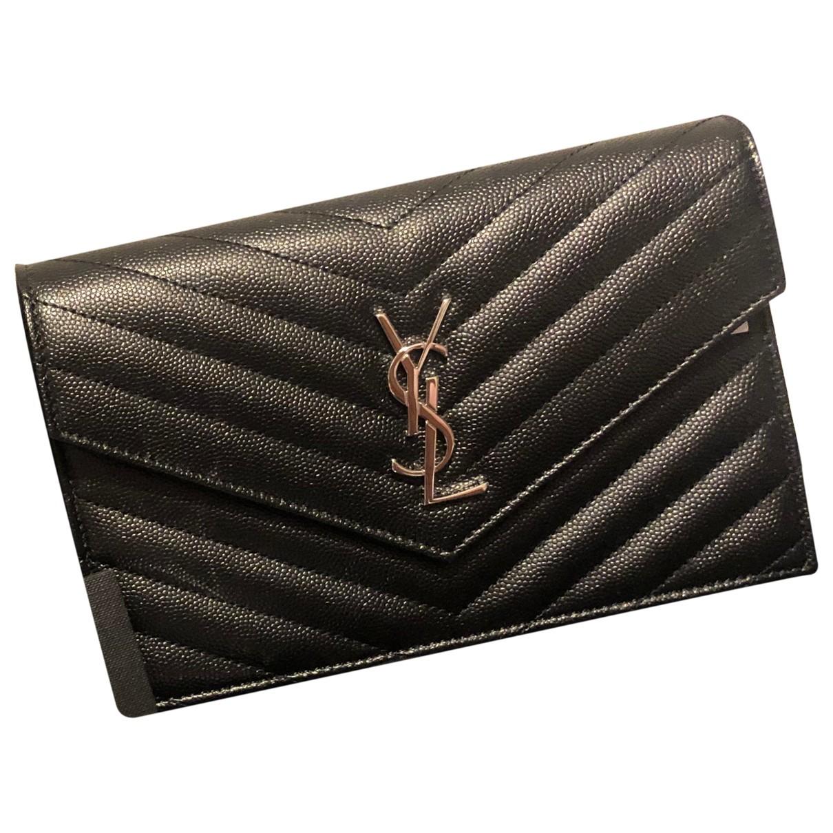Saint Laurent Portefeuille enveloppe monogram Black Leather handbag for Women \N