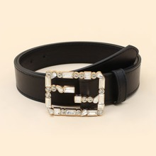 Rhinestone Decor Buckle Belt