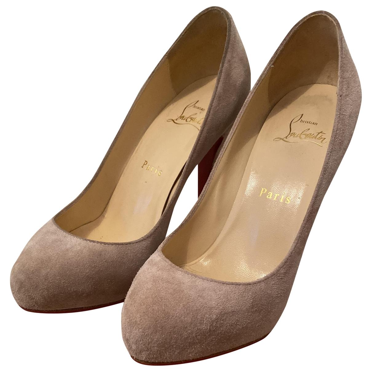 Christian Louboutin \N Beige Pony-style calfskin Heels for Women 36.5 EU