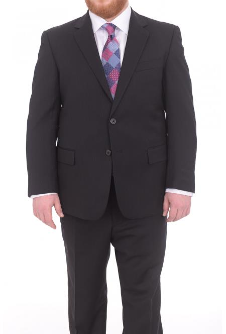 Mens Black Portly Fit Tonal Pinstriped 2Button Super 130's WoolSuit