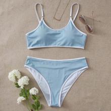 Bikinis de talla grande Ribete en contraste Colores Pastel Dulce