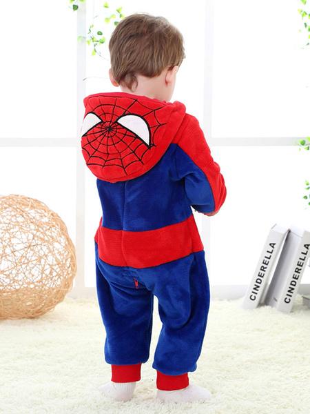 Milanoo Superman Costume Toddlers Halloween Blue Flannel Jumpsuits Kids