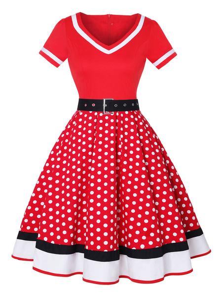 Milanoo Vintage Dress 1950s Red Woman Short Sleeves V Neck Swing Dress