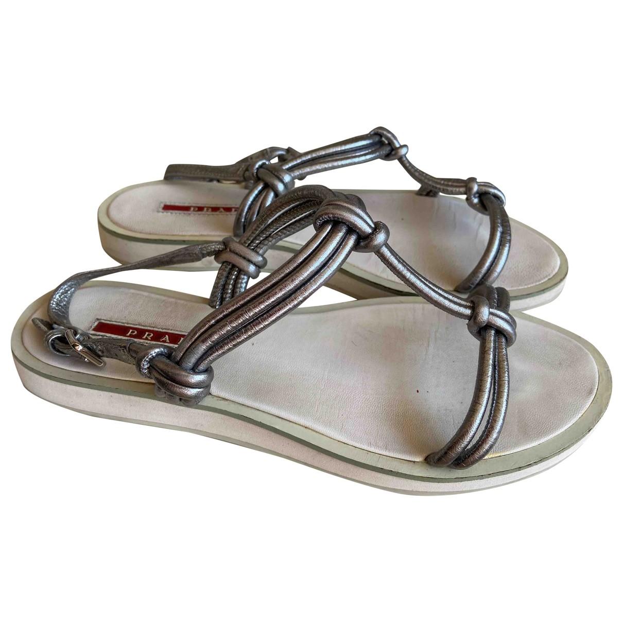 Prada \N Metallic Leather Sandals for Women 36.5 EU