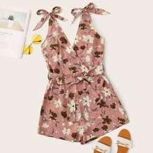 Romper mit Blumen Muster, Knoten auf Schultern und Guertel