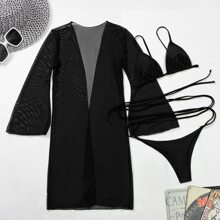 3 Packe Dreieckiger Bikini Badeanzug & Kimono mit Netzstoff