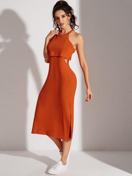 YOINS Orange Tiered Design Halter Dress