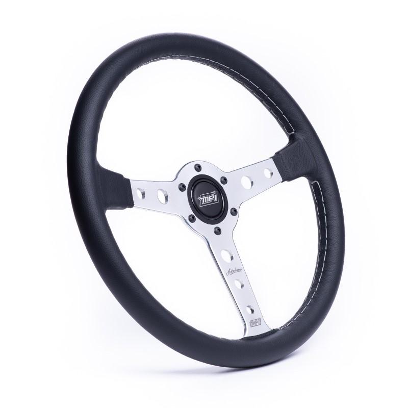 Detroit Speed 092570P Black Leather Steering Wheel MPI Autodromo 70 Series Polished Center W Horn
