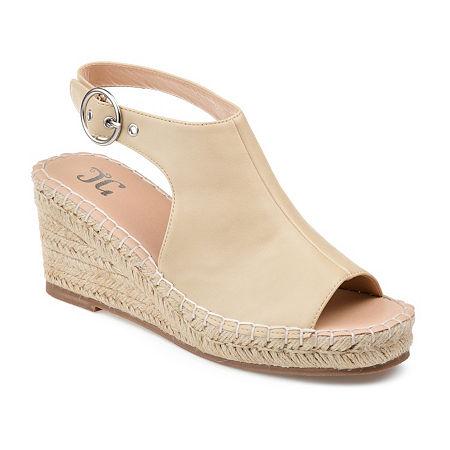 Journee Collection Womens Crew Wedge Sandals, 6 1/2 Medium, White