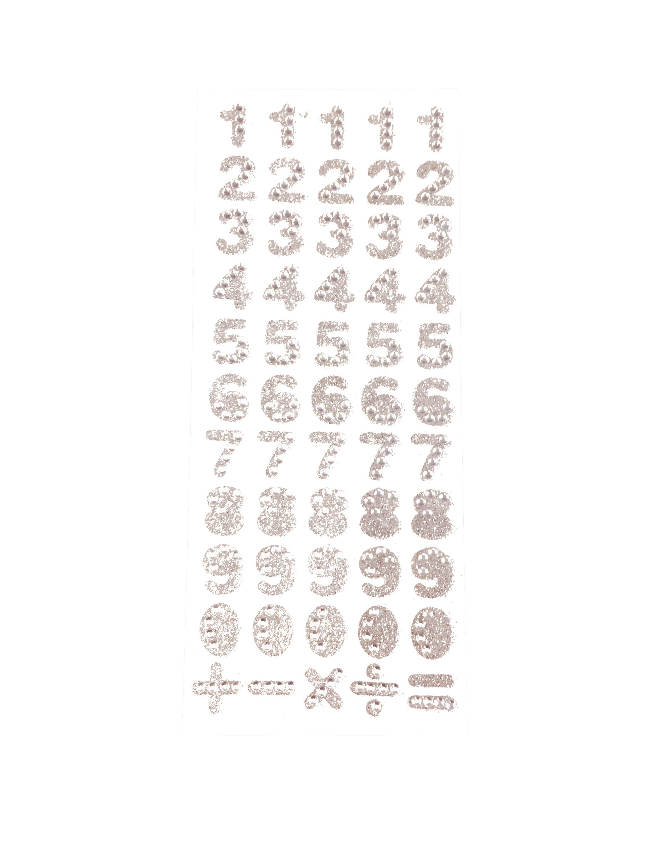 Kostuemzubehor Strasssticker 0-9 silber 55 Stk.