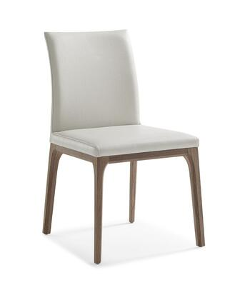 Stella Collection DC1454-WLT/WHT Dining Chair with Tall Backrest  Wood Veneer Material  Solid Wood Construction  Tapered Legs and Faux Leather