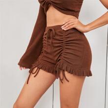 Ruched Drawstring Front Ruffle Hem Shorts