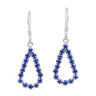 Handmade Lovely Teardrop Cubic Zirconia .925 Silver Dangle Earrings (Thailand) (Blue)
