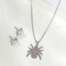 1 Stueck Halskette mit Spinne Anhaenger & 1 Paar Ohrstecker