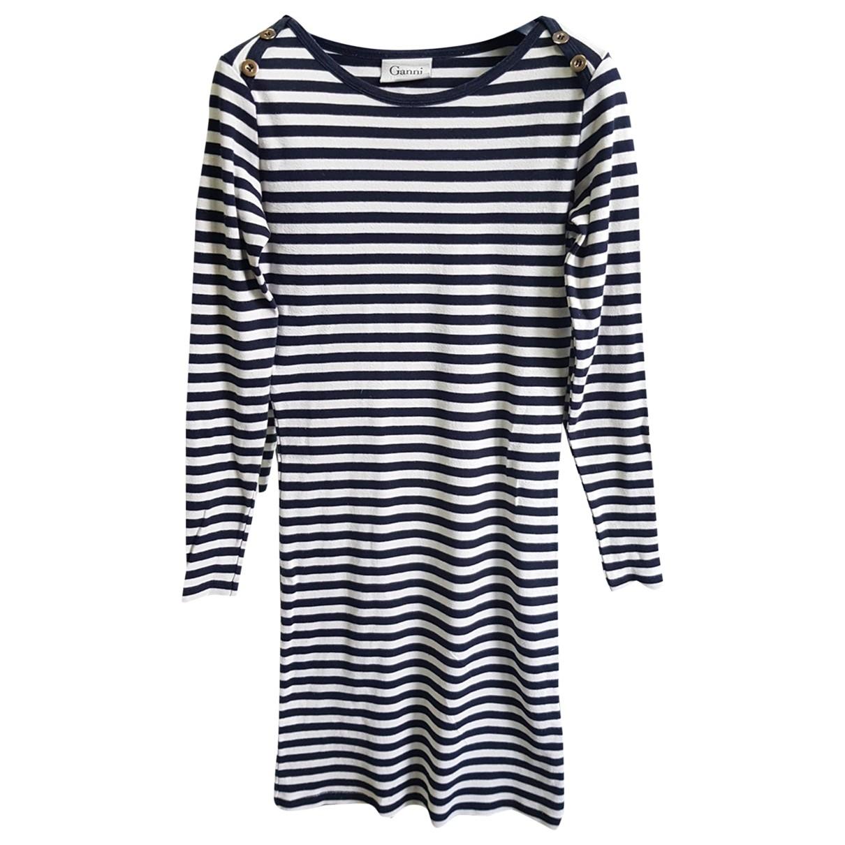 Ganni \N Kleid in  Schwarz Baumwolle
