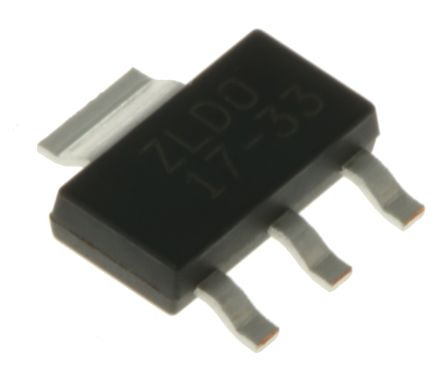 DiodesZetex Diodes Inc, 3.3 V Linear Voltage Regulator, 1A, 1-Channel, 2% 3+Tab-Pin, SOT-223 ZLDO1117G33TA (25)