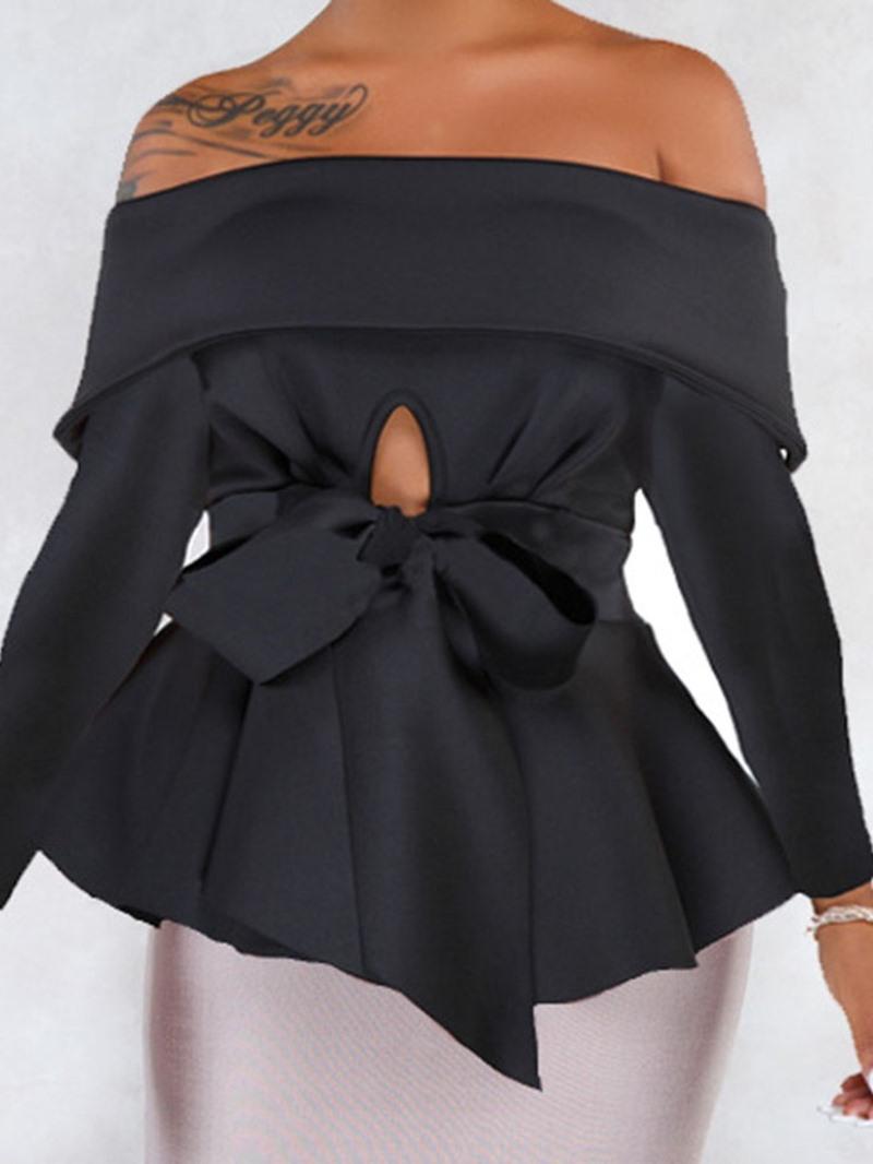 Ericdress Off Shoulder Regular Bowknot Long Sleeve Mid-Length Blouse
