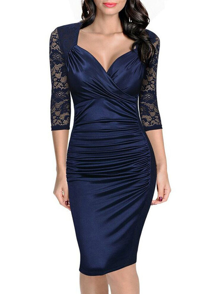 Milanoo Women's Bodycon Dress Lace Patchwork Queen Anne Neck Ruched Sheer Sleeve Deep Blue Sheath Dress
