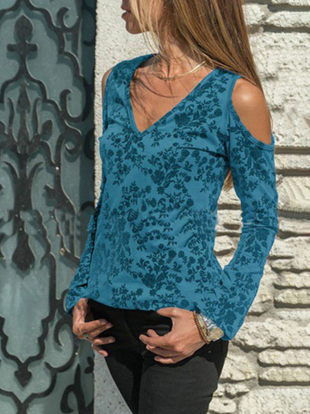 Milanoo Blouse For Women Blue V-Neck Casual Printed Long Sleeves Open Shoulder Polyester Tops