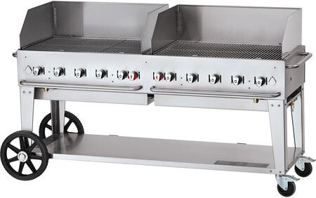 CV-MCB-72-SI50/100-WGP 72 Liquid Propane Mobile Grill with Wind Guard  159 000 BTU Capacity  Single Gas Connection  10 Stainless Steel Burners  Two